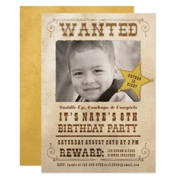 wanted poster cowboy western birthday party invitations