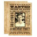 wanted poster, vintage western birthday invitation