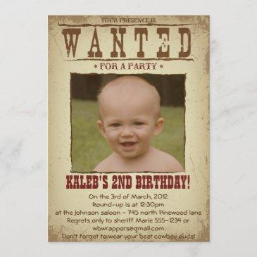 wanted poster western themed party invitation