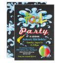 water splash pool party birthday invitations