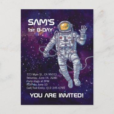 watercolor astronaut in space with stars & galaxy. invitation postinvitations