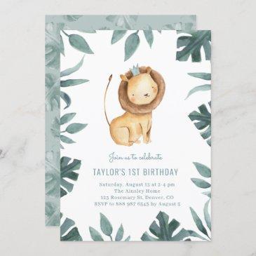 watercolor baby lion prince greenery birthday invitation