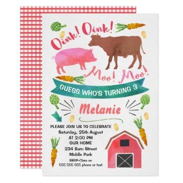 watercolor barnyard, farmyard birthday invitations