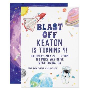 watercolor blast off space birthday invitation