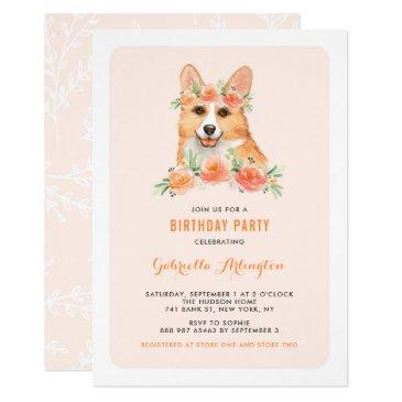 watercolor corgi peach florals dog birthday party invitations