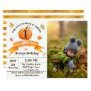 watercolor fall leaves pumpkin birthday photo invitations