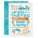 watercolor fin-tastic shark birthday invitations