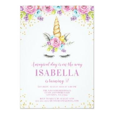 Small Watercolor Floral Unicorn Birthday Invitations Front View