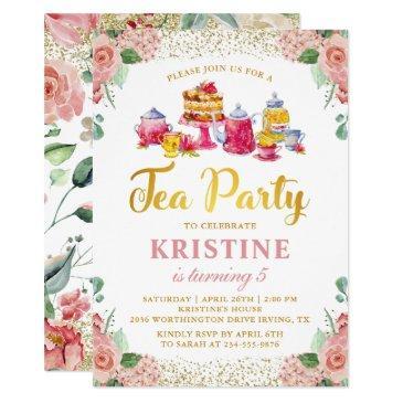 watercolor flower garden tea party girls birthday invitation