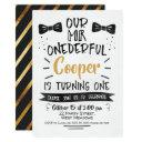 watercolor mr onederful 1st birthday invitations