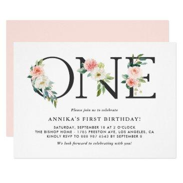 watercolor peach flowers floral first birthday invitation