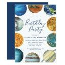watercolor planets solar system birthday party invitation
