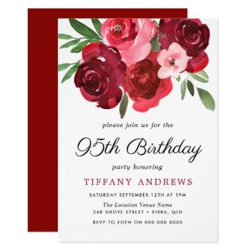 watercolor romantic red roses 95th birthday party invitations