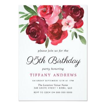 Small Watercolor Romantic Red Roses 95th Birthday Party Invitation Front View
