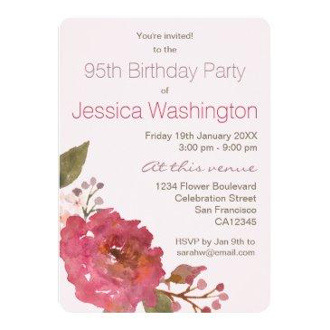Watercolor Rose Bouquet 95th Birthday Party Invitation