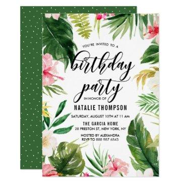 watercolor tropical floral frame birthday party invitations