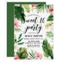 watercolor tropical floral frame sweet 16 party invitation