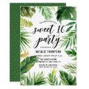 watercolor tropical leaves frame sweet 16 party invitations
