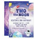 watercolor two the moon space birthday invitation