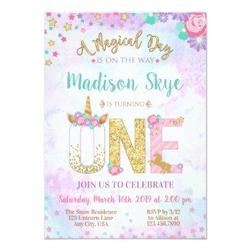 Small Watercolor Unicorn First Birthday Invitation Front View