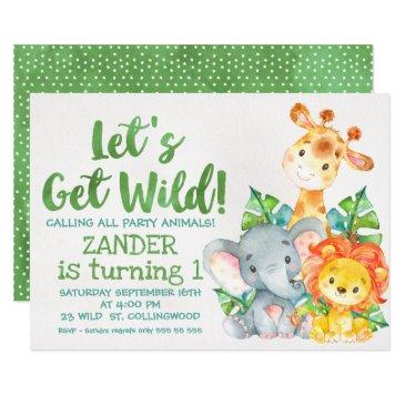 watercolor wild safari animals birthday invitations