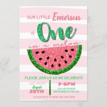 watermelon, one in a melon invitation glitter