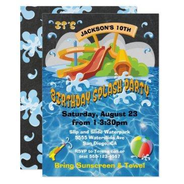 waterpark waterslide pool party birthday invite
