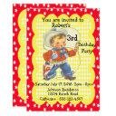 western party little cowboy birthday invitation