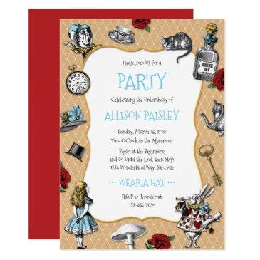 whimsical alice in wonderland party invitations