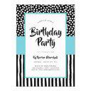 whimsical black white and aqua birthday invitations