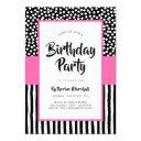 whimsical black white and pink birthday invitation