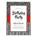 whimsical black white and red birthday invitation