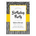 whimsical black white and yellow birthday invitations