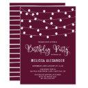 whimsical string lights purple birthday party invitation