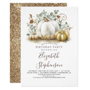 white and gold pumpkins fall harvest birthday invitation