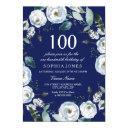 white floral navy blue 100th birthday invitation