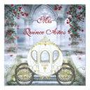 white princess carriage enchanted quinceanera invitation