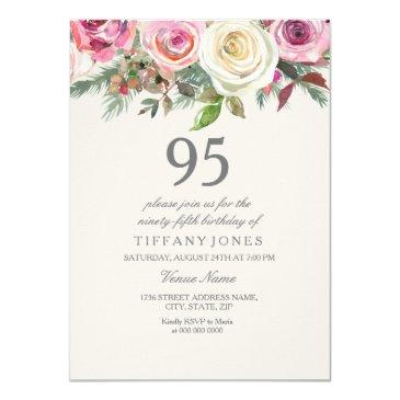 white rose 95th 96th 97th 98th 99th birthday invitation