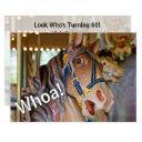 whoa! look who's 60 carousel horse birthday invitation