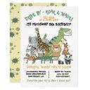 wild animals drive by birthday party parade invitation