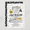 wild one 1st birthday invitation boys king wild