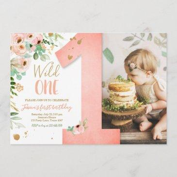 wild one 1st birthday invite floral pink gold girl