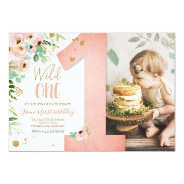 Small Wild One 1st Birthday Invite Floral Pink Gold Girl Front View
