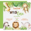 wild one 1st birthday jungle animals boy square invitation