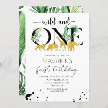 wild one 1st birthday jungle safari invitation
