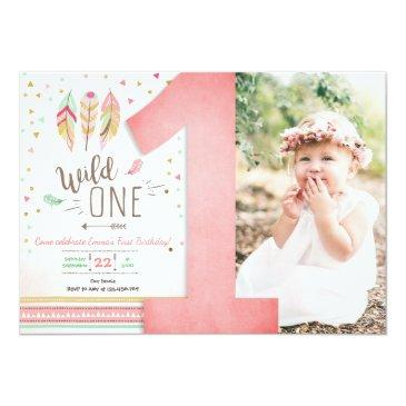 Small Wild One Birthday Girl Pink Gold 1st Boho Feathers Invitation Front View