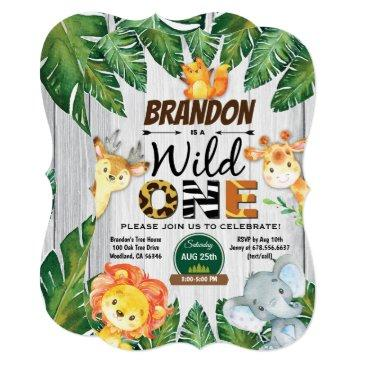 wild one birthday invitations. boy jungle safari invitations