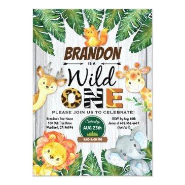 Small Wild One Birthday Invitation. Boy Jungle Safari Invitation Front View