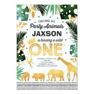 Small Wild One Birthday Invitation Jungle Animals Party Front View