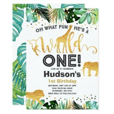 wild one birthday invitations jungle animals party